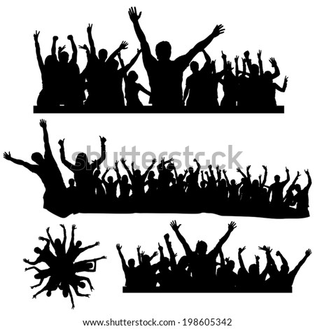 illustration of different crowds of dancing peoples - stock vector