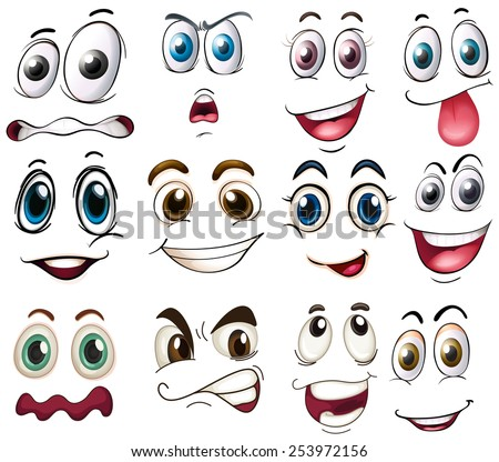 Illustration of different expressions - stock vector