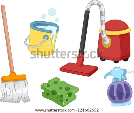 Illustration of Different House Cleaning Tools and Items - stock vector