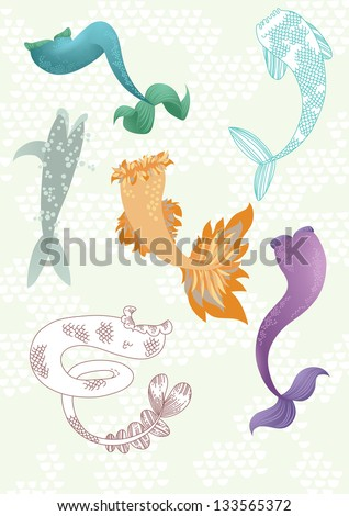 Illustration of different mermaids' tails