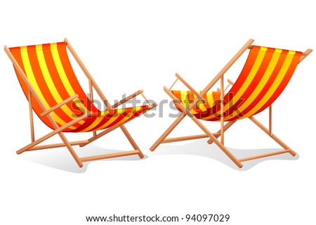illustration of different perspective of beach chair on white background - stock vector
