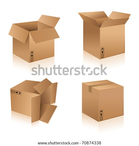 illustration of different shape cardboard boxes on isolated background - stock vector