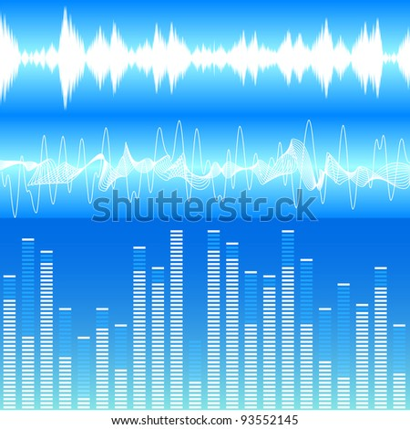 illustration of different soundwave visualisations - stock vector