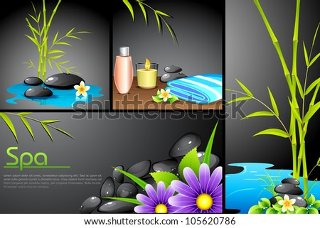 illustration of different spa template with hot stone and lotion