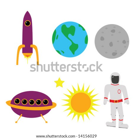 Illustration of different space elements: Earth, the moon, the sun, an astronaut, a rocket ship and an alien flying saucer.