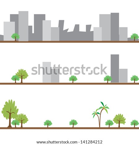 illustration of different stages of development showing sustainability of earth - stock vector