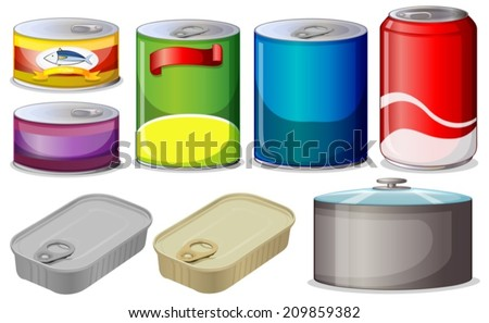 Illustration of  different type of cans - stock vector