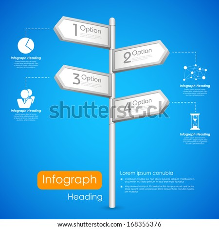 illustration of direction post showing different option in infogaphic background - stock vector