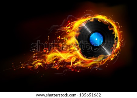 illustration of disc in fire flame for sizzling music background - stock vector