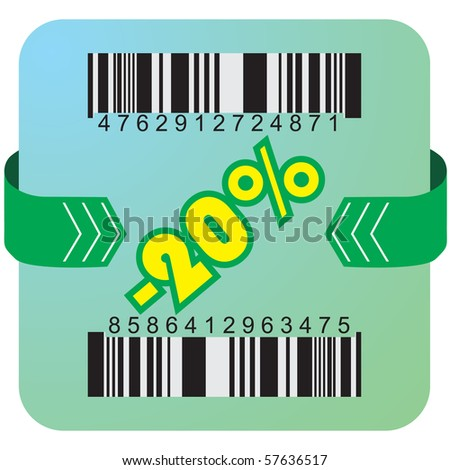 Illustration of 20 % discount with bar codes, and arrow - stock vector