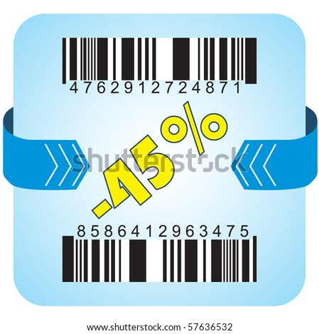 Illustration of 45 % discount with bar codes, and arrow - stock vector