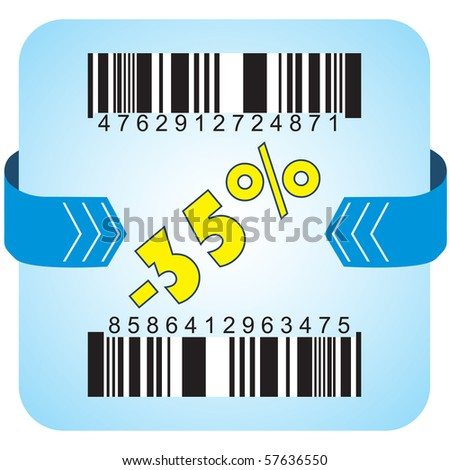 Illustration of 35 % discount with bar codes, and arrow - stock vector