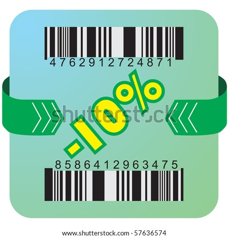 Illustration of 10 % discount with bar codes, and arrow - stock vector