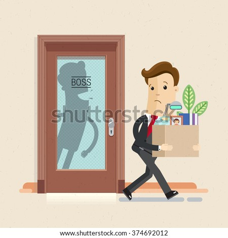 Illustration of dismissal Manager or employee. Angry boss. Vector, EPS10. - stock vector