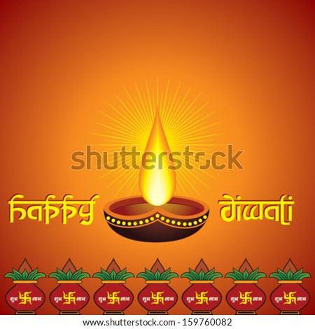 illustration of diwali greeting with diya and  mangal kalash  - stock vector