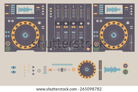 Illustration of dj mixing decks and elements, including knobs, headphones,faders,crossfader,play and cue buttons,pitch, and dj mixer - stock vector