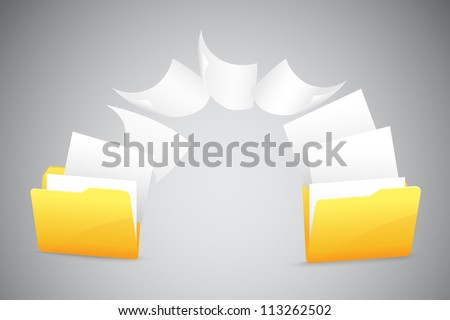 illustration of document moving from one folder to another - stock vector