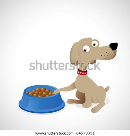 Illustration of dog eating - stock vector