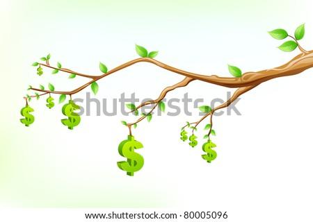 illustration of dollar symbol hanging from tree branch - stock vector