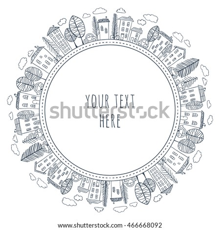 Illustration of doodle houses on circle. Drawing of village or city. Hand drawn sketch of town. Seamless circle pattern.