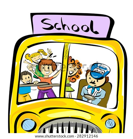 Illustration of doodle school bus with kids isolated on white background - stock vector