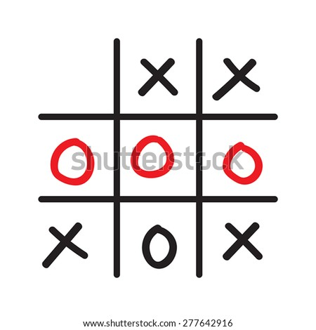 Illustration of doodle tic tac toe game isolated on white background - stock vector