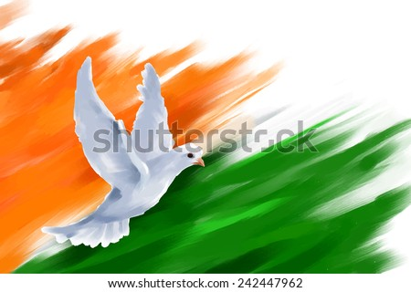 illustration of dove flying on Indian Flag for Indian Republic Day - stock vector