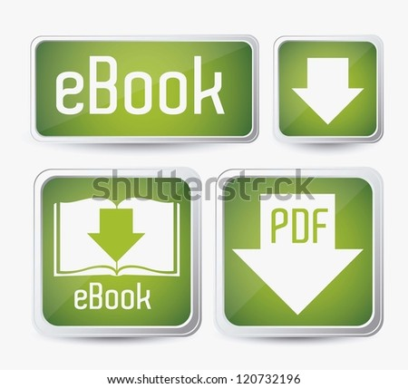 Illustration of Download ebook, with book icons, vector illustration - stock vector