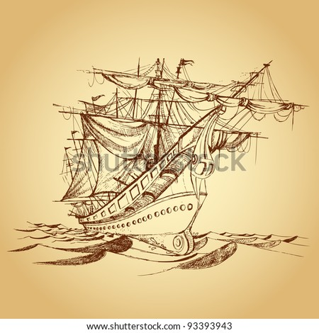 illustration of drawing of historical ship on paper - stock vector