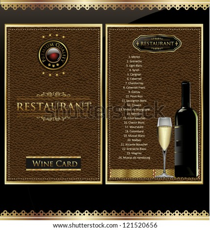 Illustration of drink menu card with wine glass and bottle on leather background - stock vector