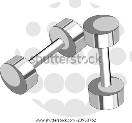 Illustration of dumb-bell in background 	 - stock vector