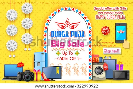 illustration of Durga Puja background for Offer promotions - stock vector