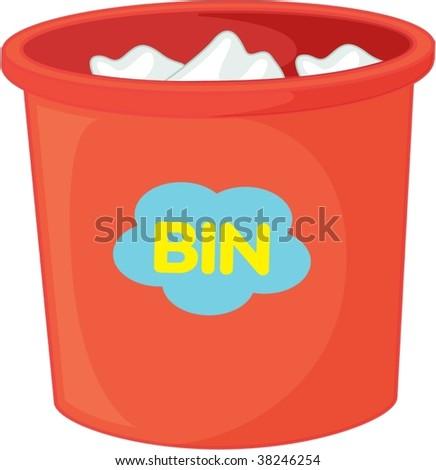 illustration of dustbin on white - stock vector