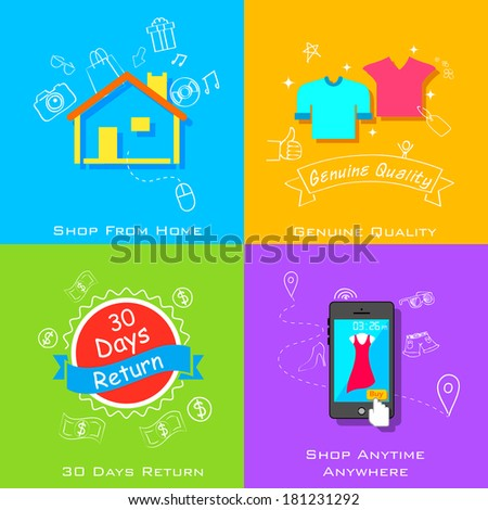 illustration of e commerce online shopping concept in flat style - stock vector