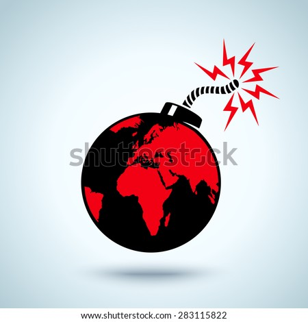 Illustration of Earth as a bomb - stock vector