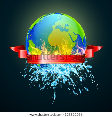illustration of earth in fire from one side and water from other - stock vector