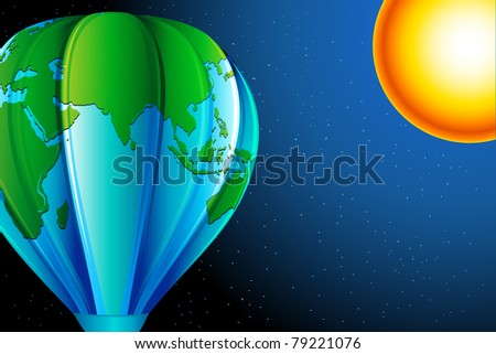 illustration of earth in hot air balloon shape with sun in sky - stock vector