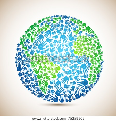 illustration of earth made of human hand on abstract background - stock vector