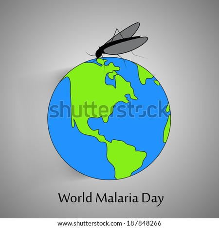 Illustration of Earth with Mosquito for World Malaria Day - stock vector