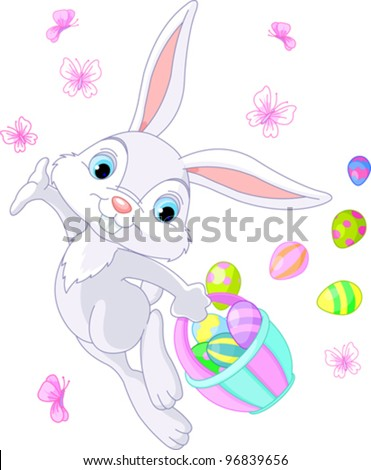 Illustration of Easter Bunny Hiding Eggs