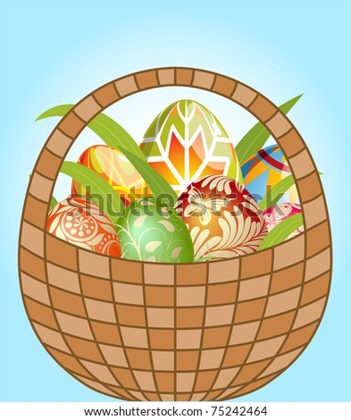 Illustration of Easter Eggs Hidden in the basket