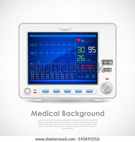 illustration of ECG machine displaying heartbeat - stock vector