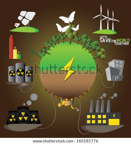 illustration of Eco environmental issues. save the world. go green. - stock vector