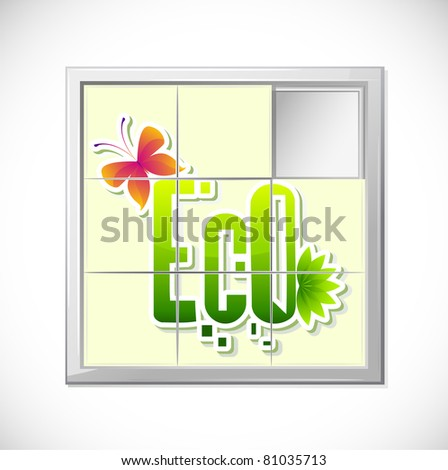 illustration of eco in sliding puzzle game - stock vector
