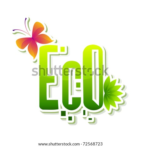 illustration of Eco sticker with butterfly showing go green - stock vector