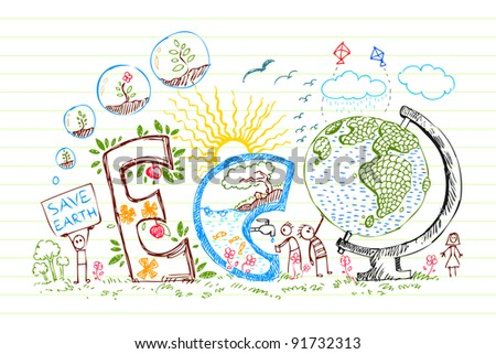 illustration of eco text with flowers in doodle style on paper - stock vector