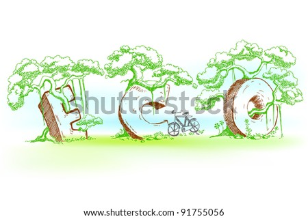 illustration of eco text with tree in doodle style - stock vector