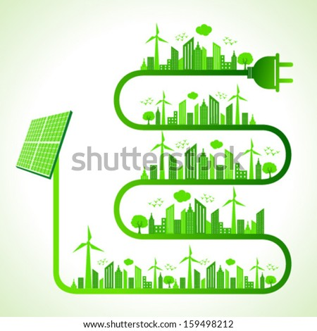 Illustration of ecology concept with solar panel- save nature  - stock vector