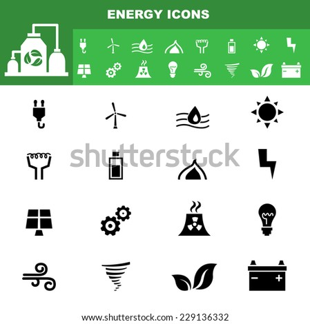illustration of ecology icon set vector - stock vector