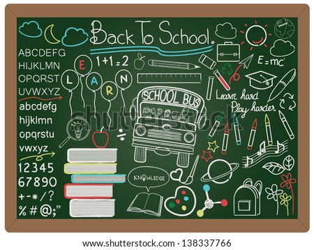 illustration of education and back to school concept design element collection set written on blackboard background vector, eps10